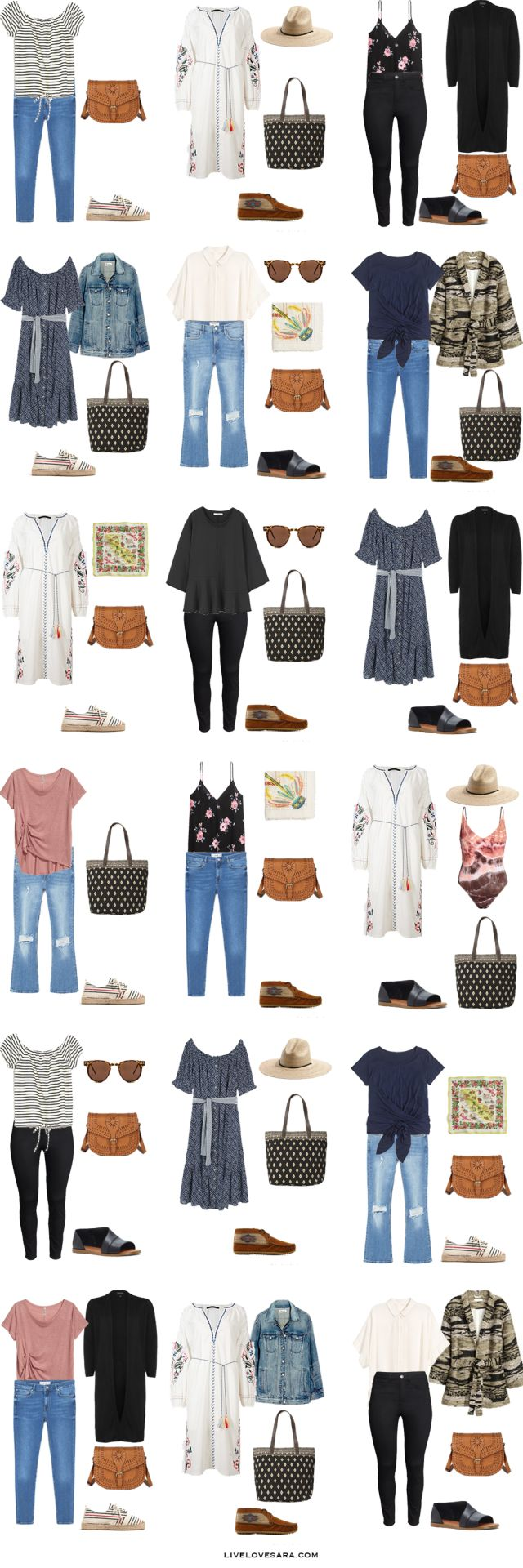 Packing List: 3 weeks in Italy+Paris.What to Wear  - Boho Style - livelovesara