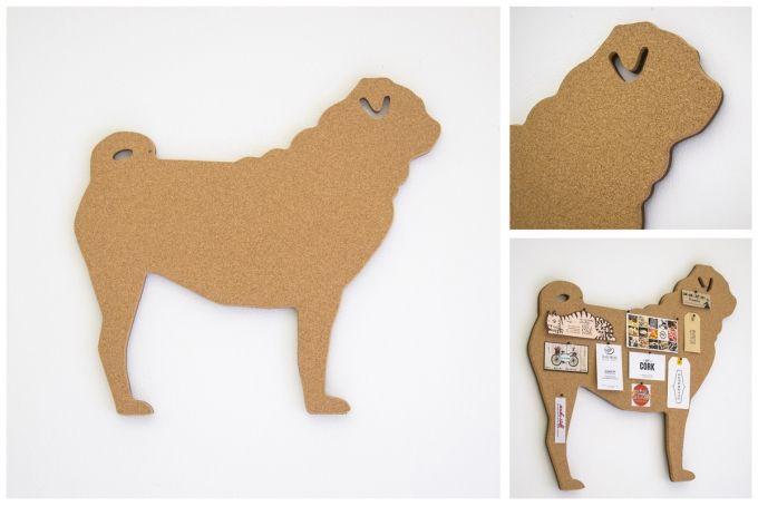 getCork Pug shaped pin board by get cork