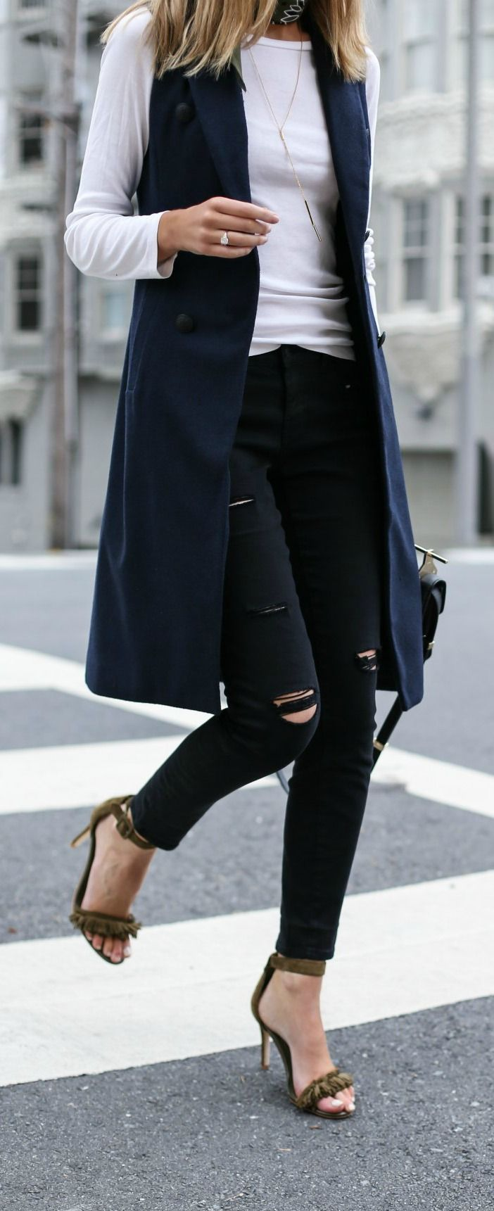 navy double-breasted vest, black distressed high waisted skinny jeans, white long sleeve tee, olive fringe heeled sandals, black handbag, olive bandana neck scarf + sunglasses {rag & bone, bp., caslon, joie, m2malletier}