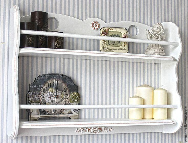 Купить Прованс - белый, полка навесная, полка для кухни, мебель для прихожей, прованс, подарок