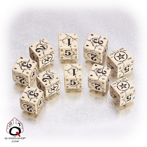 Beige-black USA battle dice set