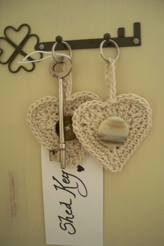 Personalised String Heart Crochet Keyrings by ChloeandKato on Etsy, £3.00