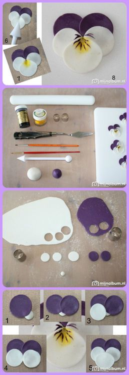 Fondant pansies- This is another frosting flower, but the design works for clay too, and it's so cute!