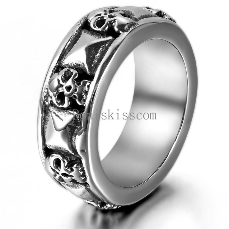 Punk Men's Skull Pyramid Gothic Biker Stainless Steel Ring Combination Cast Band #Band