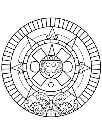 Aztec Sun Stone Coloring page