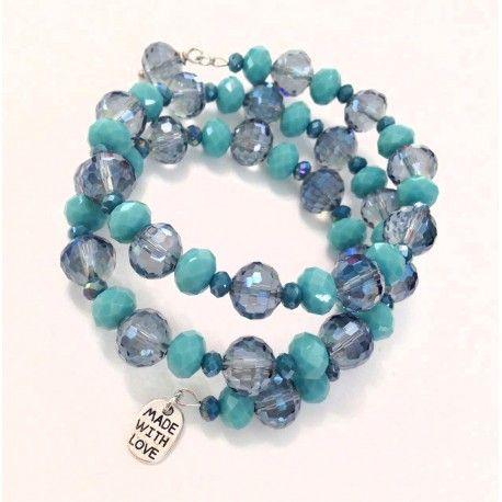 Bracciale spirale a molla con cristalli turchesi e grigio blu con medaglietta MADE WHIT LOVE
