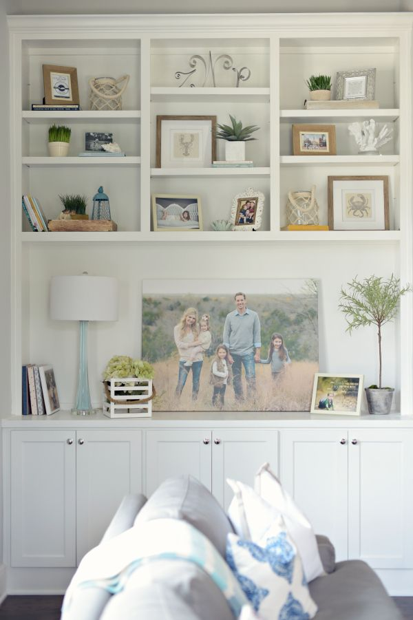 styled bookcase, simple bookshelf, neutral colors daymewalther.com www.paigewalkerphotography.com
