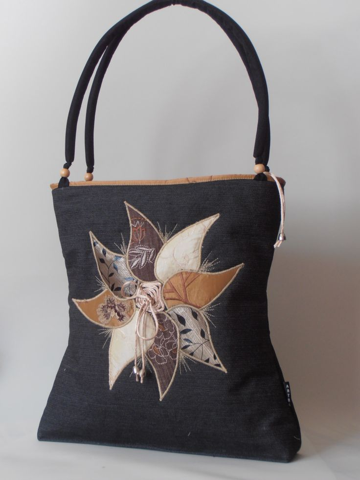 denim bag with satin applique pattern