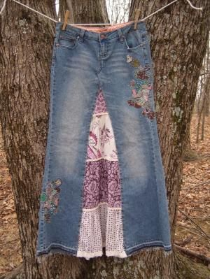 Decorated jean skirt - Could be fun WWW skirt by julekinz