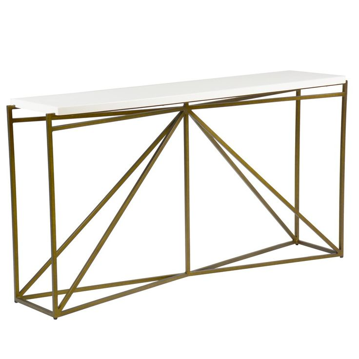 The Noah Console table features a linear metal base and a faux-bone top in a starburst pattern. This narrow transitional console table blends simplistic form with beautiful materials.  Materials Resin, Metal  Finish White Faux Bone, Antique Brass