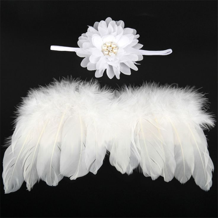 Angel feather wings baby girl flower headband hair head bands photo shoot accessories for newborns hairband