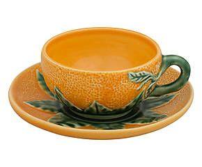 Tasse et sous-tasse à thé faïence portugaise, orange et vert - Ø9