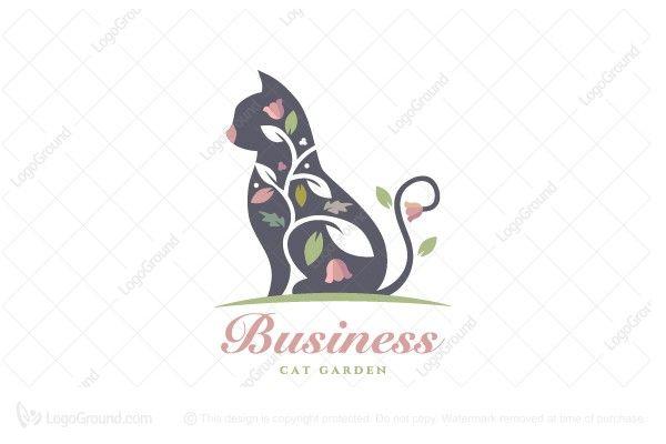 Cat Garden Pet Store Logo Pet Grooming Business Pet Store Cat Garden