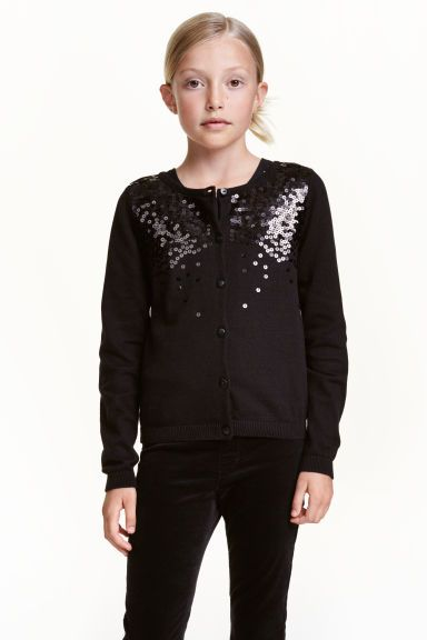 Sequined cardigan: Cardigan in a soft, fine knit with sequined embroidery at the top, long sleeves and buttons down the front.