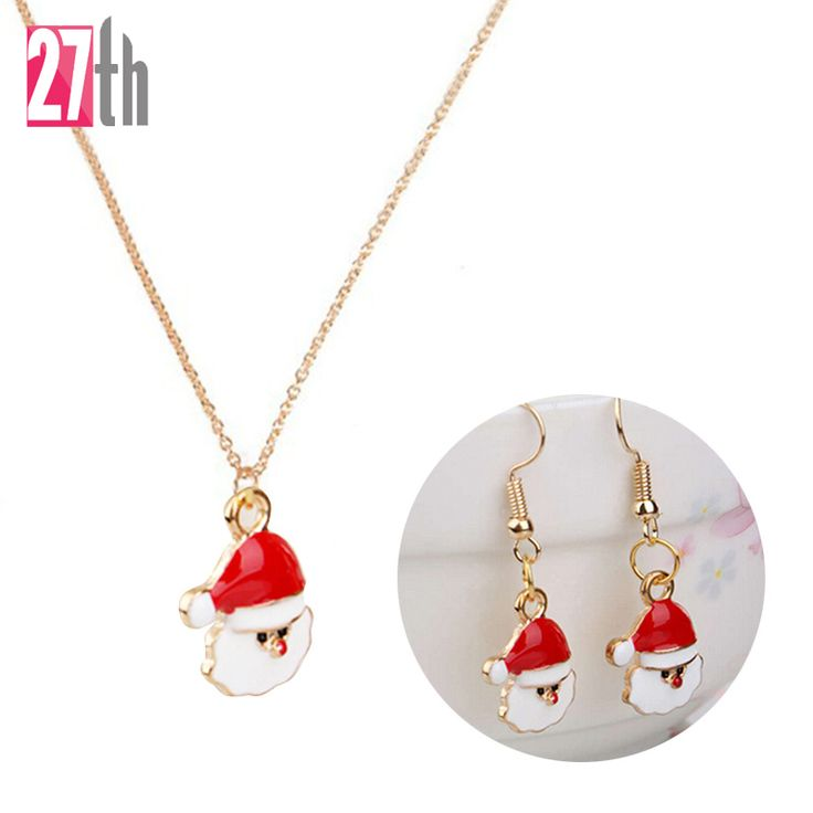 2016 New Christmas Gift Jewelry Santa Claus Snowman Snowflake Gift Box Pendant Necklace Earrings Set Christmas Jewelry for Women