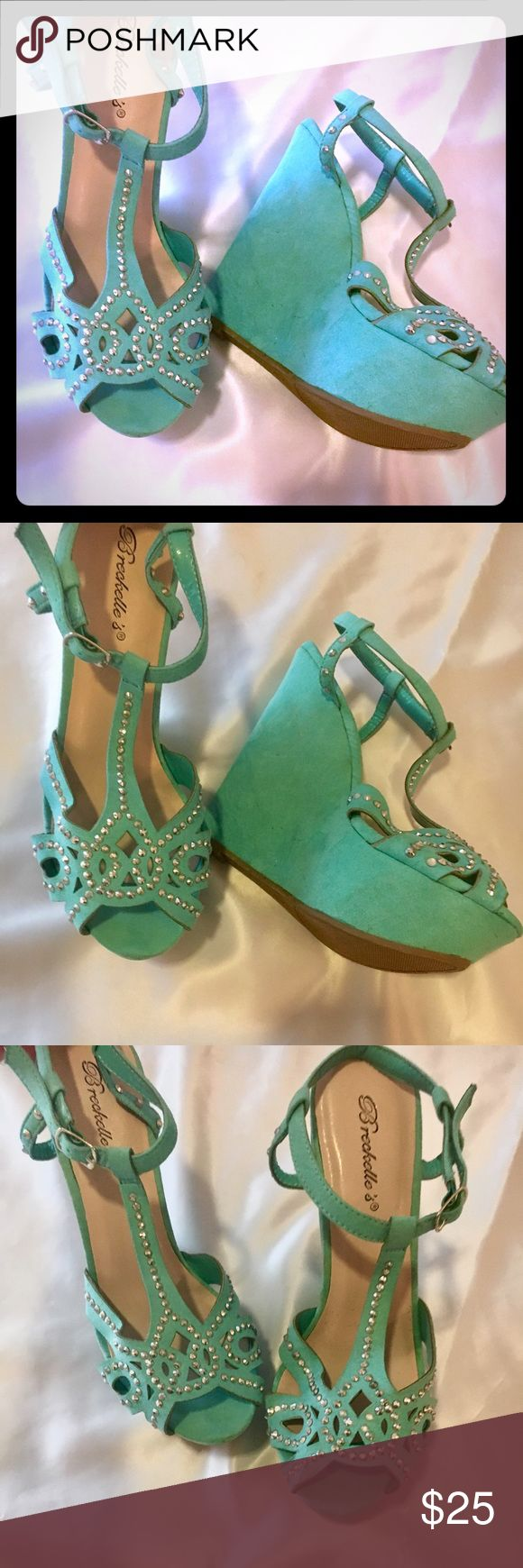 HOT 💗 Turquoise BLING Wedges Super cute size 8 turquoise wedges - covered in rhinestones!!  So much bling!!  Never worn but threw the box away. NWT!! Shoes Wedges