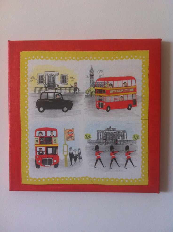 London Decoupaged Canvas Painting by litsakiv on Etsy, $30