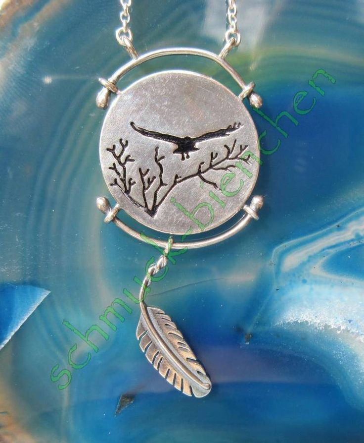 Collier Kette Adler fliegend Feder Sterling Silber 925 Anhänger Indianer