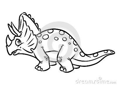 Herbivorous Dinosaur Jurassic Period Coloring Pages Cartoon Illustration
