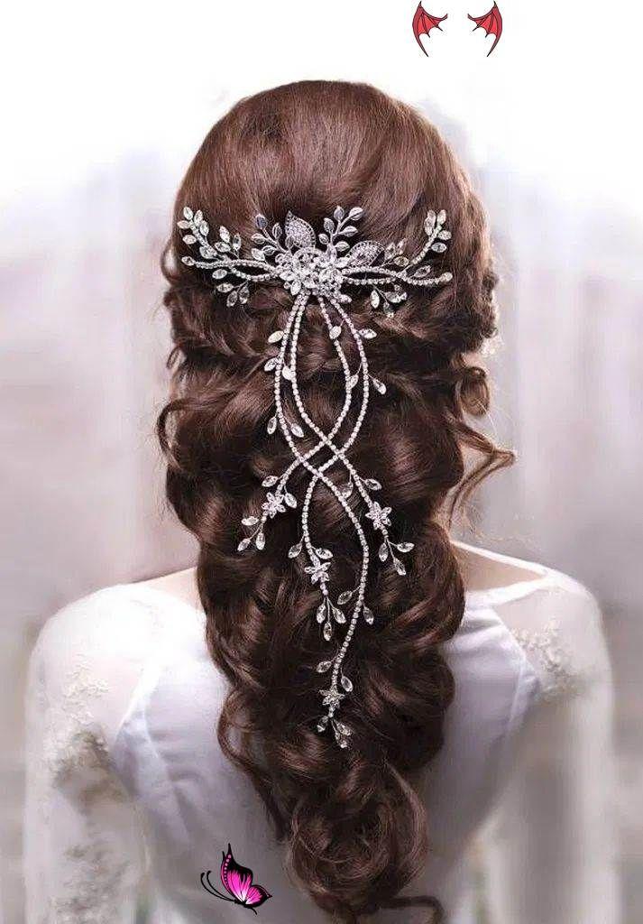 Wedding Hair Jewelry Wedding Hair With Veils Wedding Hair And Make Up Near Me Curly Wedding Hair Updos Wed In 2020 Crystal Hair Vine Hair Jewelry Long Hair Styles