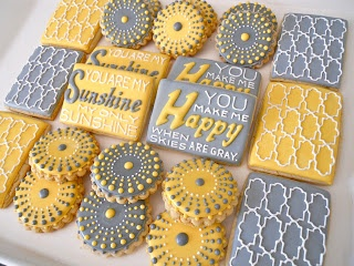 I want these for my shower!!!!! Must try and re create them!!!Grey and Yellow cookies by .Oh Sugar Events