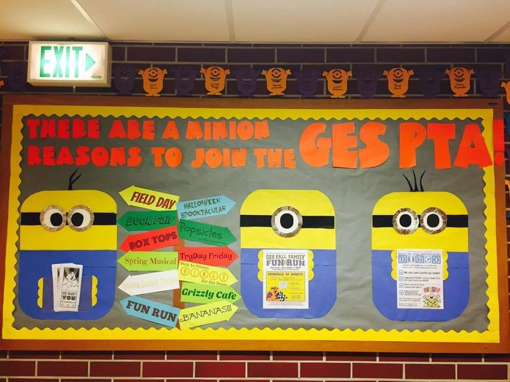 Minions-themed PTA bulletin board - there are mini Minions all around the outside, one for each PTA member.