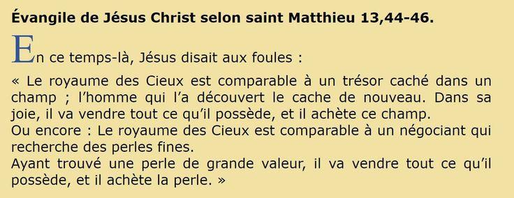 Évangile de Jésus Christ selon saint Matthieu 13,44-46.