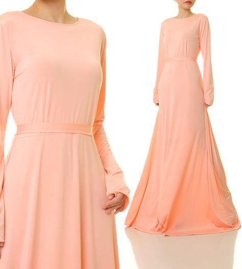 Peach Maxi Dress | Peach Bridesmaid Dress | Long Peach Dress | Abaya Maxi Dress | Long Sleeves Maxi Dress | Boho Wedding Guest Dress 6367 by Tailored2Modesty on Etsy