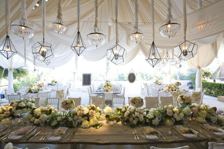 Love the different shaped glass lanterns at Hilary Duff's wedding, styled by Mindy Weiss