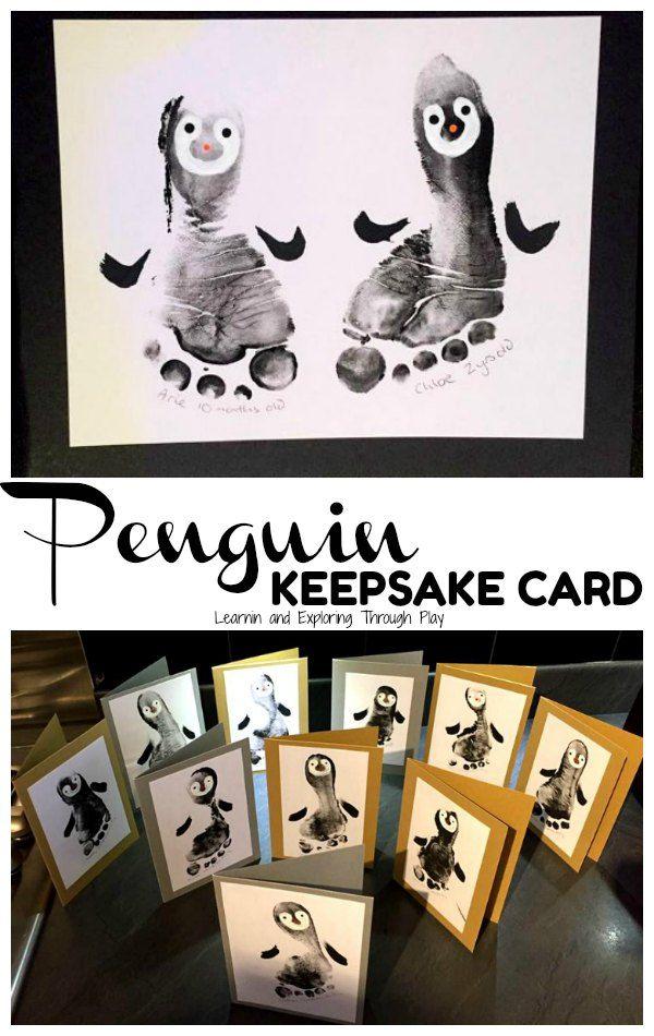 Penguin Christmas Cards Homemade.Penguin Foot Print Cards Hands Of Love Christmas Cards