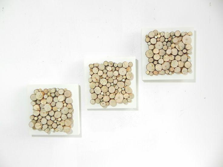 Trois tableaux design tr s moderne blanc en rondelles de bois pi ce unique - Creation tableau deco ...