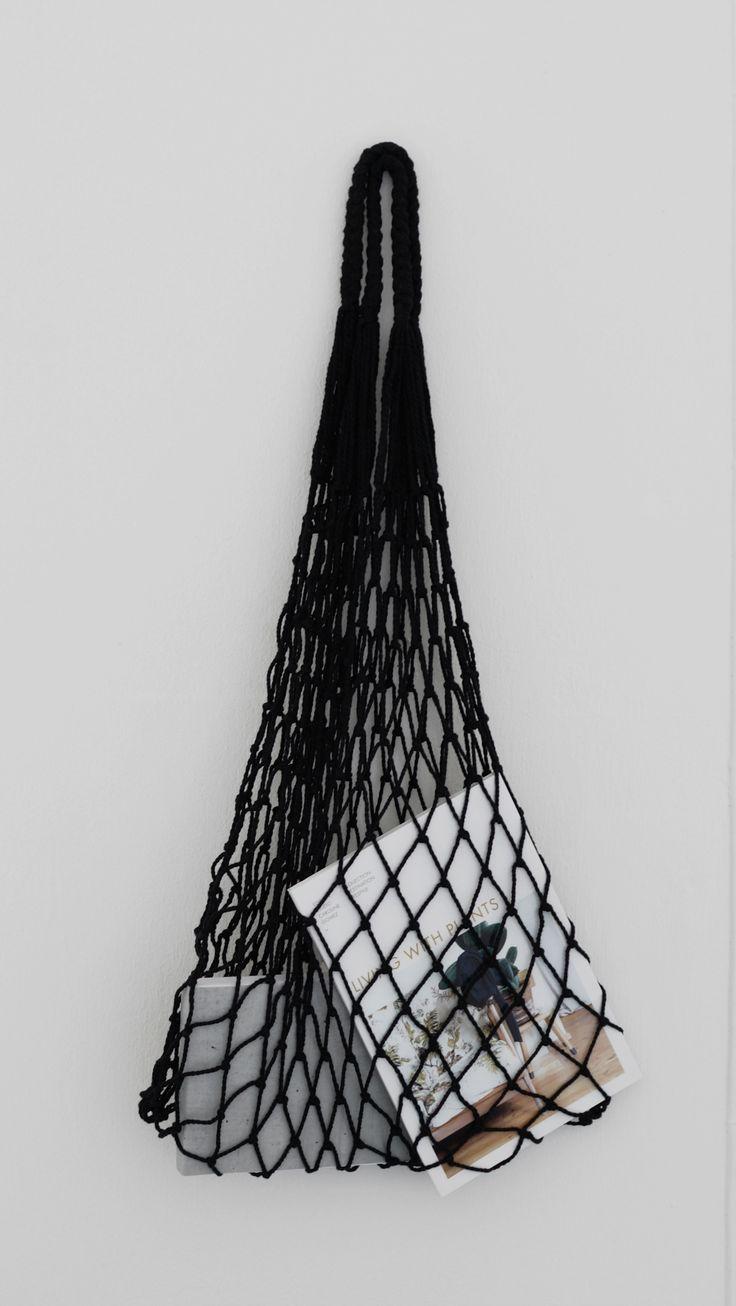 eco mesh bag black great alternative to plastic bags. Handmade.