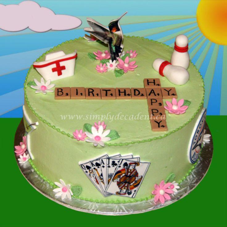 Cake with Scrabble Pieces, Bowling Pins & Nursing Cap and Edible Image Royal Flush, Martini Glass, Toronto Blue Jays Logo & Hummingbird.
