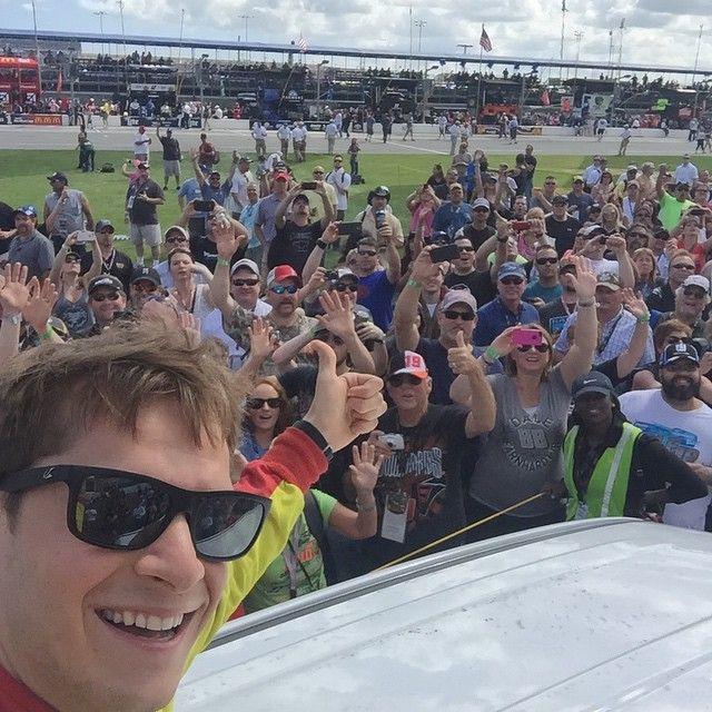 NASCAR driver, Landon Cassill wearing Kaenon 'Clarke' Polarized Sunglasses at #Daytona500