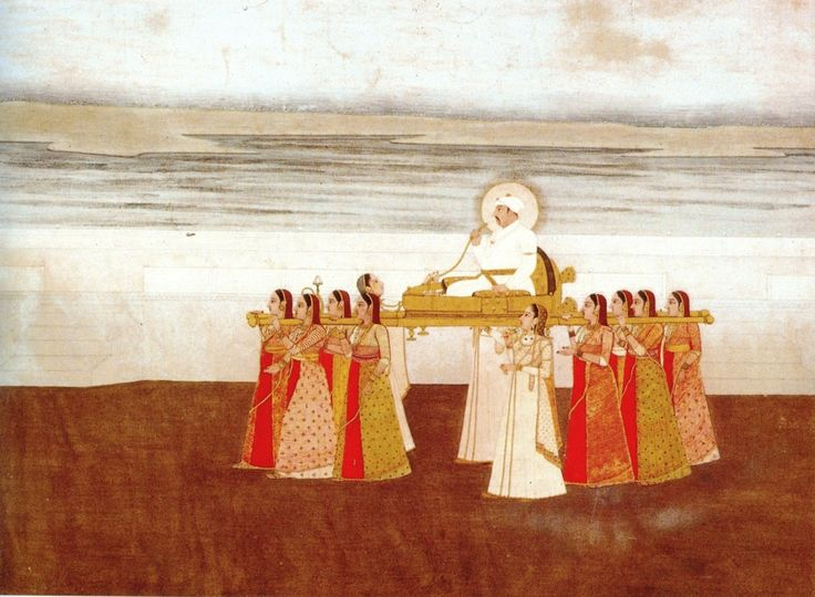 Emperor Muhammad Shah carried in a Palanquin by Ladies. ca. 1735, Collection Kasturbhai Lalbhai, Ahmedabad