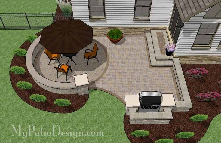 Curvy Patio with Grill Station- Patio Designs & Ideas
