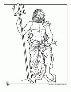 greek myths poseidon 231x300 Ancient Greek Gods and Greek Heroes Coloring Pages