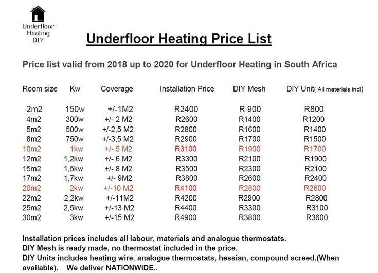 PRICE for underfloor heating