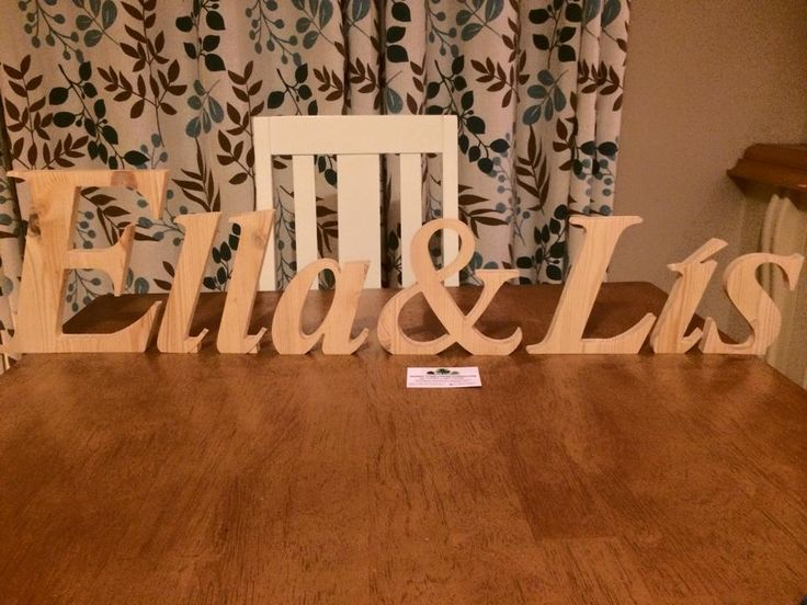 Names made from solid wood lettering