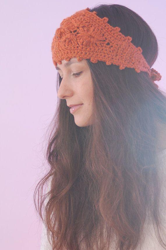 Chunky headband, orange wool headband, crochet ear warmer, fashion headband, autumn fall headband, merino wool  headband, hippie headband