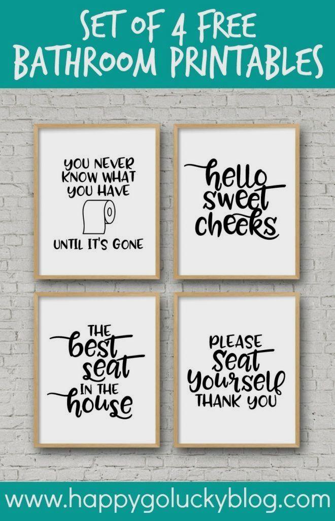 Set Of 4 Printable Bathroom Signs Bathroom Printables Printable Bathroom Signs Funny Bathroom Decor