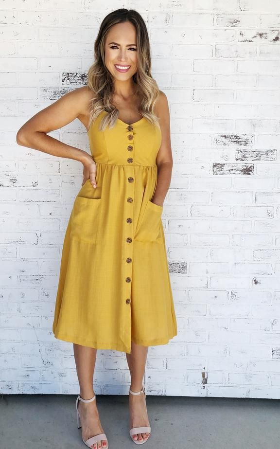 9e77df4f02d3 Mustard button up midi tank dress with pockets. Midi dress. Dress with  pockets. Tank dress. Bump friendly dress. Dress with heels. Spring dress.