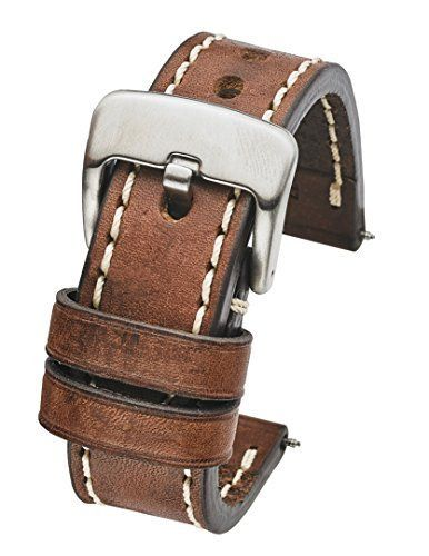 169872200 Thick Padded Stitched Genuine Oil Leather Watch Band - Brown - 22mm (fits  Wrist Sizes