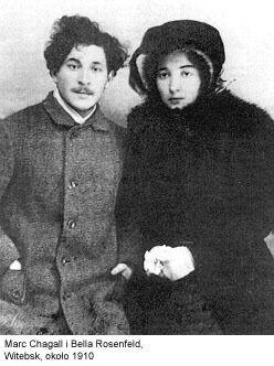 Les premières œuvres de Marc Chagall en Russie comme 'Jeune fille sur le divan,' auto-portrait avec des brosses, La famille assis nu dans Rouge, Femme au bouquet, mariage russe, Naissance