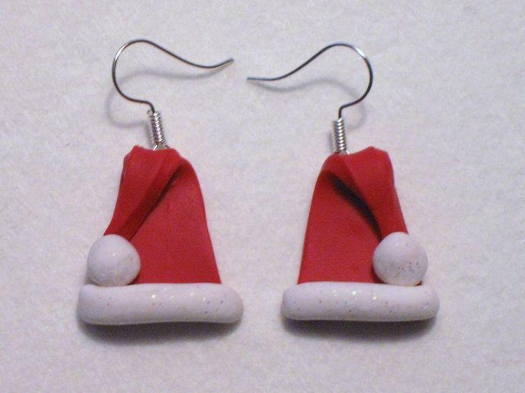Christmas Santa Hat Red Glitter White Handmade Polymer Clay Dangle Earrings Jen #UniquelyHandcraftedbyJen #DropDangle