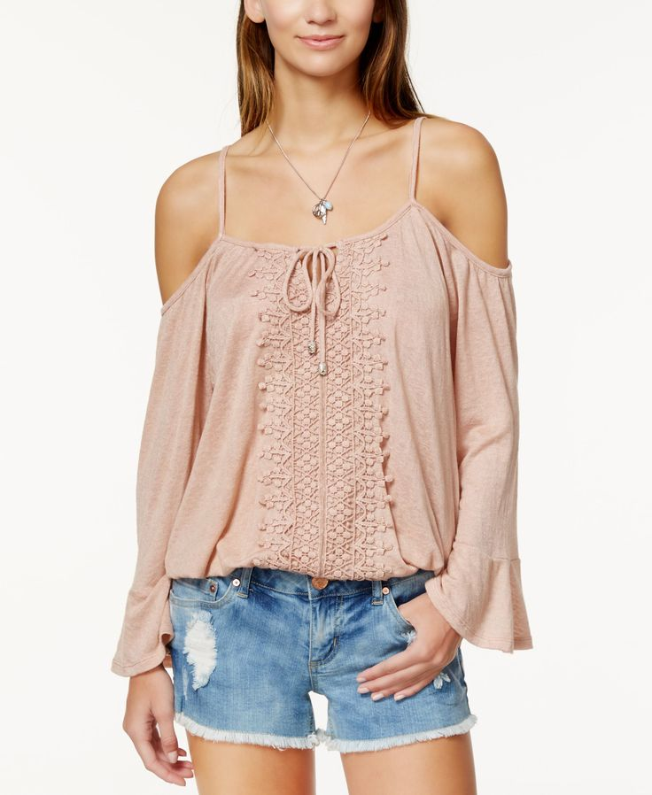 American Rag Off-the-Shoulder Crochet-Trim Bell-Sleeve Top, Only at Macy's