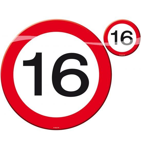 4 placemats en 4 onderzetters voor een 16 jaar verjaardag. Plastic placemats en onderzetters voor een 16 jaar verjaardags feest.