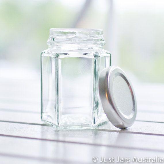 100 small 110ml hexagonal glass jars - Silver metal lids - DIY wedding favours / Bomboniere / Bonbonniere