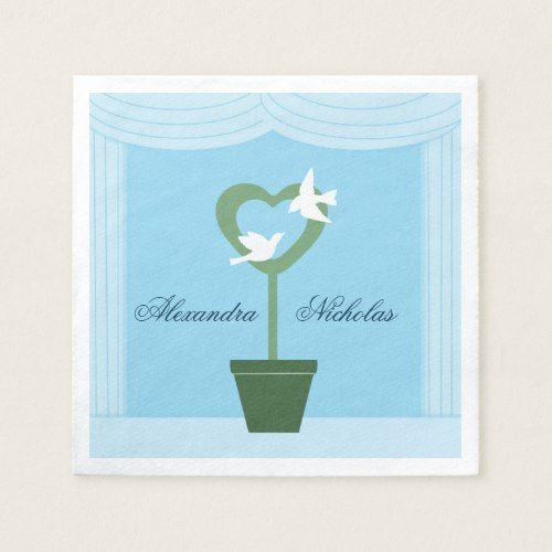 White Doves and Heart Topiary Wedding Napkins