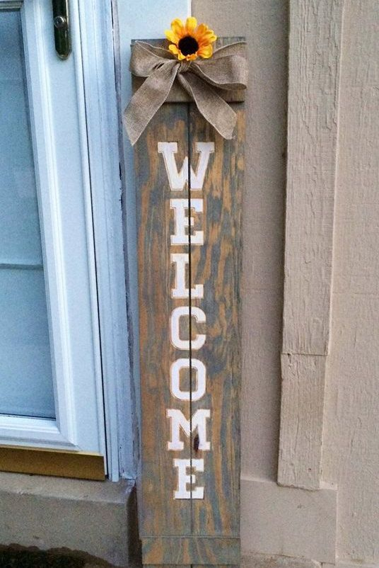 """Rustic Front Door Welcome Sign 44"""" X 8"""" Carved into Upcycled Shipping Crate Wood Hand Painted / Stained by RummWoodWorx on Etsy"""